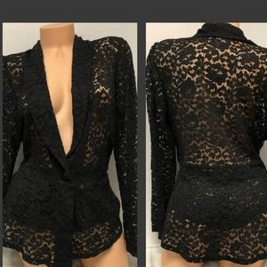 Cato Lovely Black Lace Fitted Blazer SZ XL
